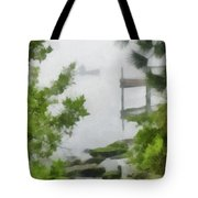 Canoe In Lake Fog Tote Bag