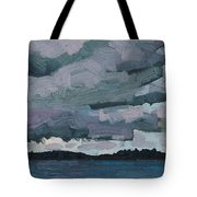 Canoe Lake Rain Clouds Tote Bag