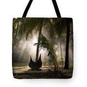 Canoe Under Palm Trees In Kerala, India Tote Bag