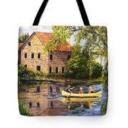 Canoeing Past The Mill Tote Bag