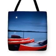 Canoes And Moon 87 Tote Bag