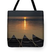 Canoes At Sunrise Tote Bag