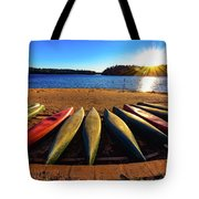 Canoes At Sunset Tote Bag