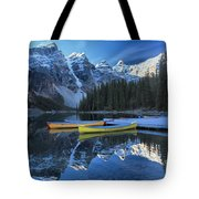 Canoes Under The Peaks Tote Bag