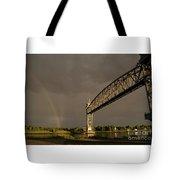 Cape Cod Train Bridge With Rainbow Tote Bag