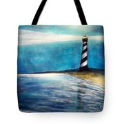 Cape Hatteras Lighthouse Night Glow Tote Bag