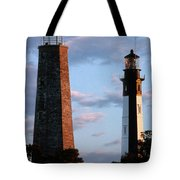 Cape Henry Lighthouses In Virginia Tote Bag by Skip Willits