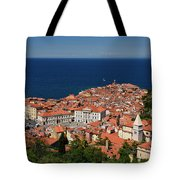 Cape Madonna At Point Of Piran Slovenia On Blue Adriatic Sea Wit Tote Bag