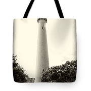 Cape May Lighthouse In Sepia Tote Bag