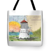 Cape Mendocino Lighthouse Ca Nautical Chart Map Tote Bag