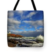 Cape Neddick Lighthouse Tote Bag by Rick Berk