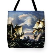 Capture Of H.b.m. Frigate Macedonian By U.s. Frigate United States, October 25, 1812  Tote Bag