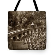 Car On A Wooden Railroad Trestle Circa 1916 Tote Bag