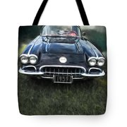 Car On The Grass Tote Bag