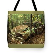 Car Wreck In The Forest Tote Bag