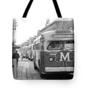 Caravan Of Buses On Nicollet Mall Tote Bag by Mike Evangelist