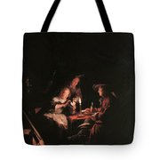 Card Players At Candlelight Tote Bag