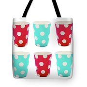 Card With Red And Blue Paper Disposable Glass In Polka Dot Isolated On White With Copy Space Tote Bag
