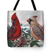 Cardinal Berries Tote Bag