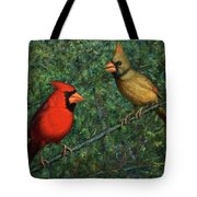 Cardinal Couple Tote Bag by James W Johnson