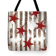 Cardinal Holiday Burlap Star Pattern Tote Bag