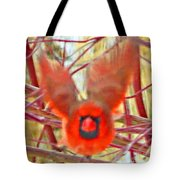 Cardinal In Flight Abstract Tote Bag