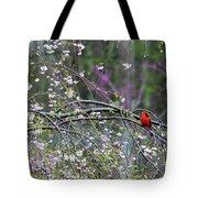 Cardinal In Flowering Tree Tote Bag