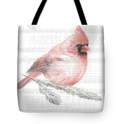 Cardinal On Joy To The World Tote Bag