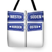 Cardinal Points Signpost German Tote Bag