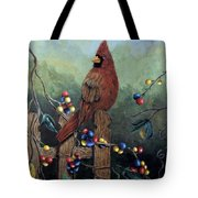 Cardinal Sitting On A Fence Tote Bag