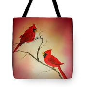 Cardinals At Sunset Tote Bag