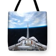 Cargo Bay Of Atlantis On Sts-132 Tote Bag by Artistic Panda