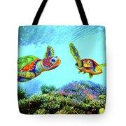 Caribbean Sea Turtle And Reef Fish Tote Bag