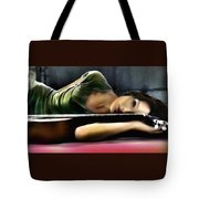 Carla Bruni With Guitar Tote Bag