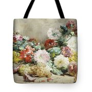 Carnations, Roses, Grapes And Peaches Tote Bag
