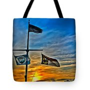 Carolina Beach Lake Flag Pole V2 Tote Bag
