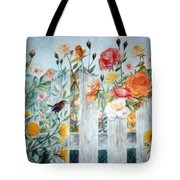 Carolina Wren And Roses Tote Bag