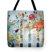 Carolina Wren And Roses Tote Bag
