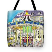 Carousel Paris Illustration Hand Drawn Tote Bag