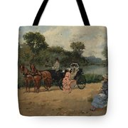 Carriage Ride By The River Tote Bag