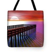 Carribean Sunset Pier Tote Bag
