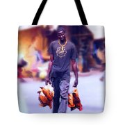 Carrying Chickens To Dakar Tote Bag