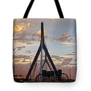 Cars On The Move- Lenny Zakim Bridge Sunset Tote Bag