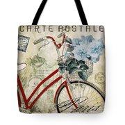 Carte Postale Vintage Bicycle Tote Bag