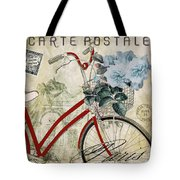 Carte Postale Vintage Bicycle Tote Bag