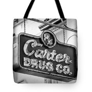Carter Drug Co - Bw Tote Bag