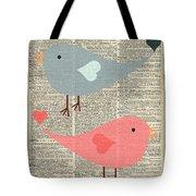 Cartoon Birds In Love  Tote Bag
