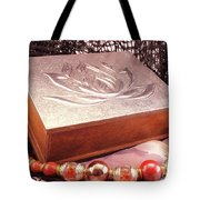 Carved Box In Aluminum. Silver Box And Red Necklace Tote Bag