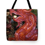 Carved Wood Dragon With Ball In Mouth Tote Bag