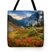 Cascade Pass Fall Tote Bag by Inge Johnsson
